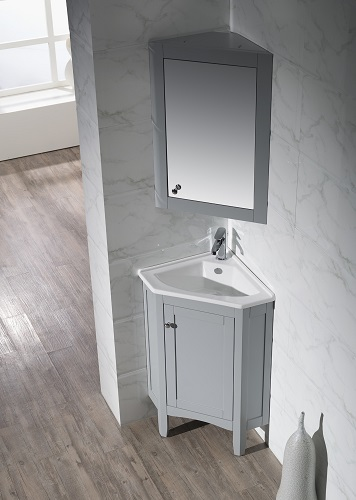 "Monte 25"" Corner Bathroom Vanity With Medicine Cabinet TY-650GY from Stufurhome"