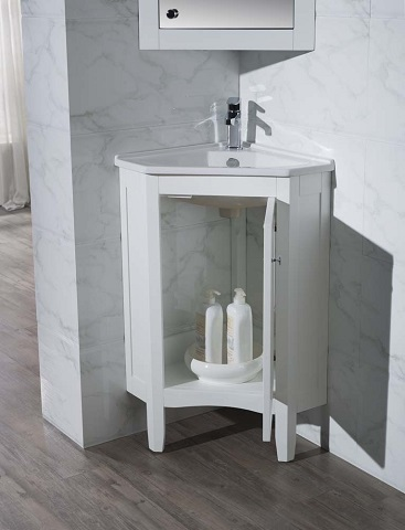 "Monte 25"" White Corner Bathroom Vanity With Medicine Cabinet TY-650PW from Stufurhome"