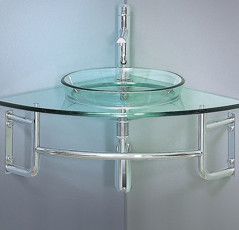 "Ordinato 24"" Corner Mount Modern Glass Bathroom Vanity FVN1040 from Fresca"