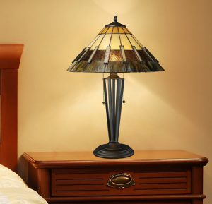 Porterdale 2 Light Table Lamp in Tiffany Bronze with Tiffany Glass Shade