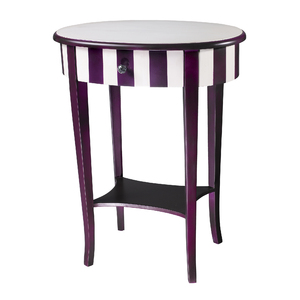 Purple And White Striped Side Table