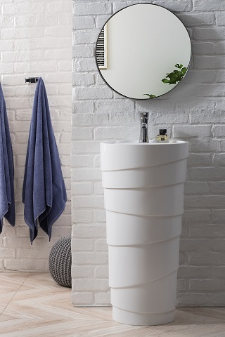 "Quebec 17.5"" Solid Surface Pedestal Sink in Bright White 127-V17.5-BW from James Martin Furniture"
