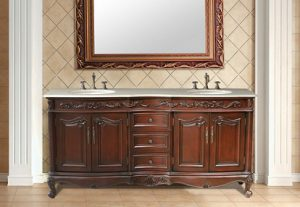 Saturn Double Sink Vanity With Cream Marfil Marble Top