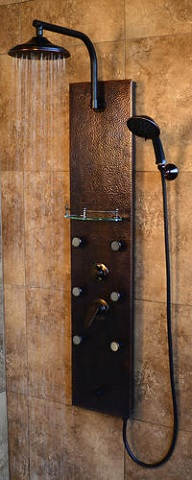 Sedona Shower Spa Hammered Copper ORB Shower Panel 1041 from Pulse