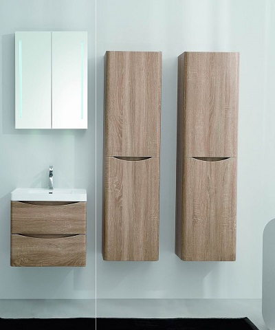 "Smile 24"" White Oak Wall Mount Modern Bathroom Vanity Set EVVN600-24WHOK-WM from Eviva"