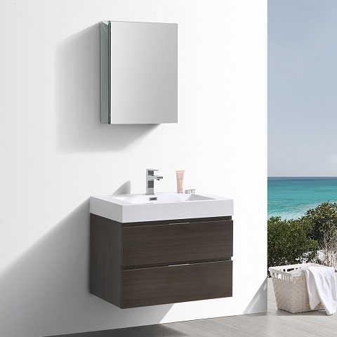 "Valencia 30"" Gray Oak Wall Hung Modern Bathroom Vanity FVN8330GO from Fresca"