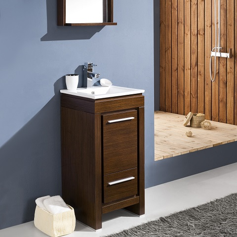 "Allier 16"" Wenge Brown Modern Bathroom Vanity FVN8118WG from Fresca"