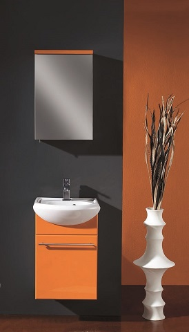 "Infinity 18"" Wall Mount Orange Modern Bathroom Vanity With Integrated Porclain Sink EVVN17018OR-Infinity from Eviva"