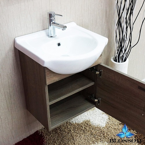 """Naples 18"""" Bathroom Vanity Set in Cart Oak With Mirror 011-18-06 from Blossom"""