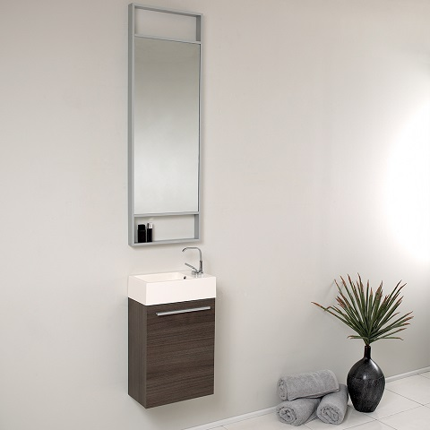 "Pulito 16"" Small Gray Oak Modern Bathroom Vanity FVN8002GO from Fresca"