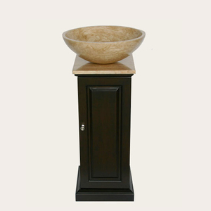 Roman Column Style Vanity With Travertine Vessel Sink From Silkroad Exclusive