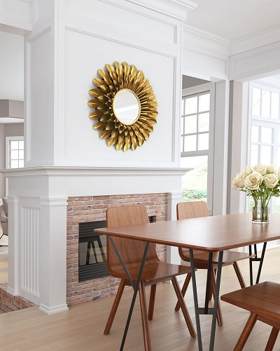 Sunflower Round Mirror A12213 in Gold from Zuo Modern