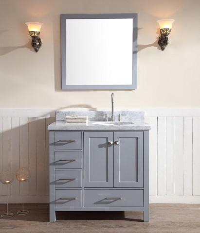 "Cambridge 37"" Single Sink Bathroom Vanity Set With Offset Sink from Ariel"
