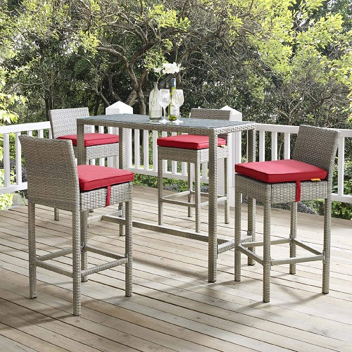 Conduit 5-Piece Outdoor Patio Wicker Rattan Set in Light Gray and Red EEI-3722-LGR-RED-SET from Modway Furniture