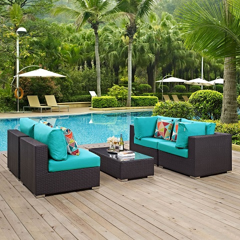 Convene 5-Piece Outdoor Patio Sectional S et in Espresso and Turquoise EEI-2163-EXP-TRQ-SET from Modway Furniture