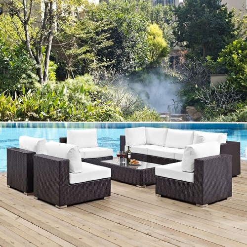 Convene 8-Piece Outdoor Patio Sectional Set in Espresso and White EEI-2205-EXP-WHI-SET from Modway Furniture