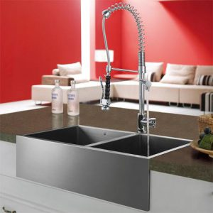 Double Faucet Pull Down With Two Bowl Stainless Steel Apron Sink