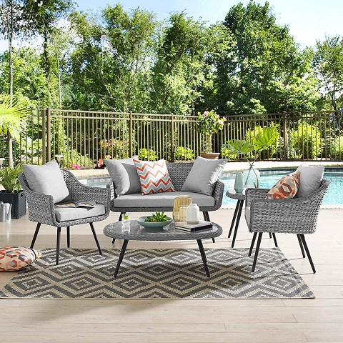 Endeavor 4-Piece Outdoor Sectional Sofa in Gray Rattan Wicker EEI-3177-GRY-GRY-SET from Modway Furniture