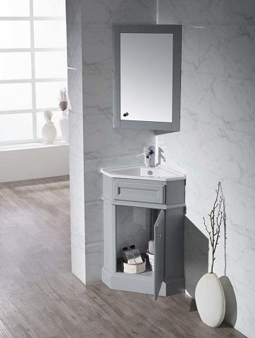 "Hampton Gray 27"" Corner Bathroom Vanity With Medicine Cabinet TY-415GY from Stufurhome"