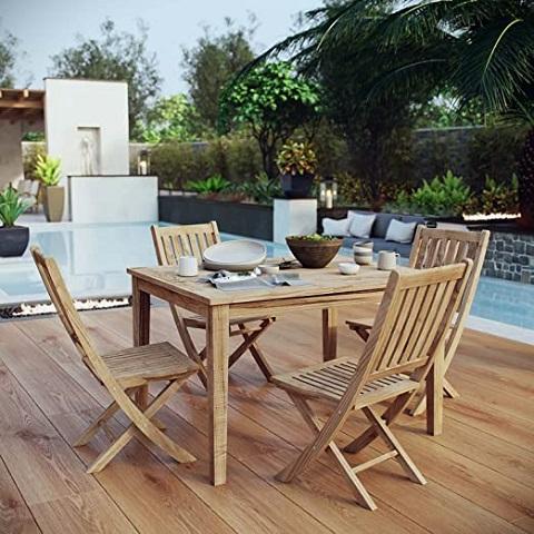 Marina 5-Piece Outdoor Dining Set in Natural Teak EEI-3289-NAT-SET from Modway Furniture