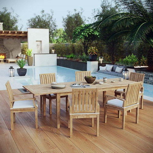 Marina 7-Piece Teak Outdoor Dining Set in Natural and White EEI-3279-NAT-WHI-SET from Modway Furniture