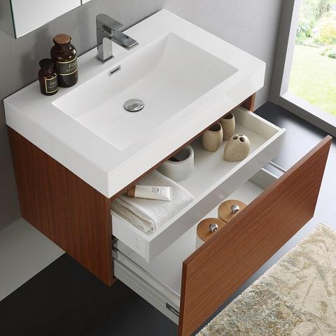 "Mezzo 30"" Teak Wall Hung Modern Bathroom Vanity FVN8007TK from Fresca"