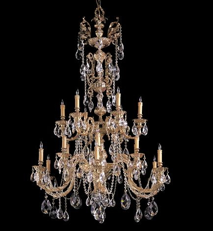 Palmer Ornate Cast Brass Chandelier WIth Hand Cut Crystals