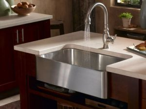 Satin Nickel Faucet And Stainless Steel Farmhouse Sink Form Artisan
