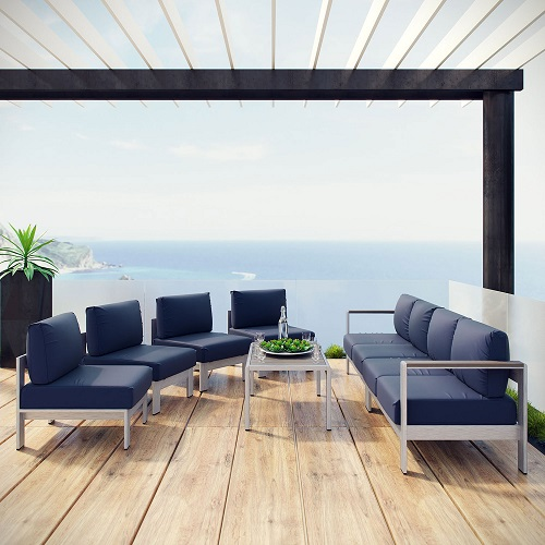 Shore 7-Piece Outdoor Patio Sectional Sofa in Silver and Navy EEI-2566-SLV-NAV from Modway Furniture