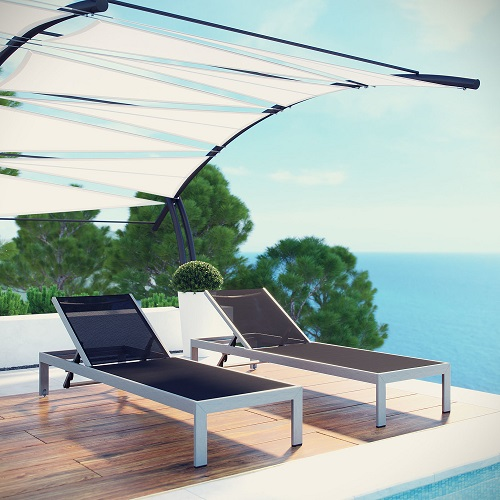 Shore Outdoor Aluminum Mesh Patio Chaise in Silver and Black EEI-2249-SLV-BLK from Modway Furniture