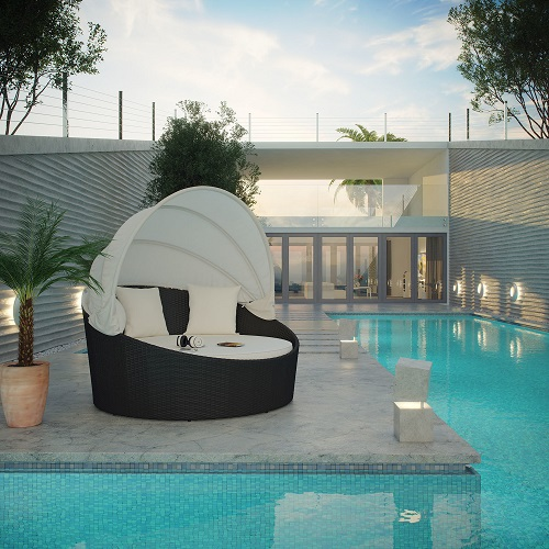 Siesta Canopy Outdoor Patio Daybed In Espresso And White EEI-642-EXP-WHI from Modway Furniture