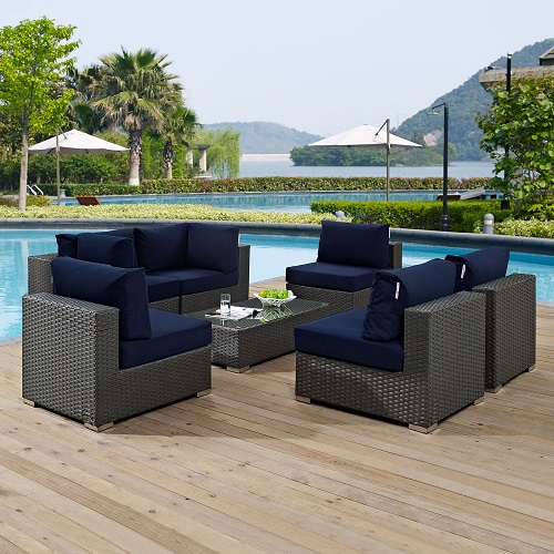 Sojourn 7-Piece Outdoor Patio Sectional Set in Sunbrella Canvas Navy EEI-1883-CHC-NAV-SET from Modway Furniture