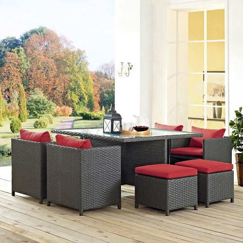Sojourn 9-Piece Outdoor Patio Dining Set in Sunbrella Canvas Red EEI-1946-CHC-RED-SET from Modway Furniture