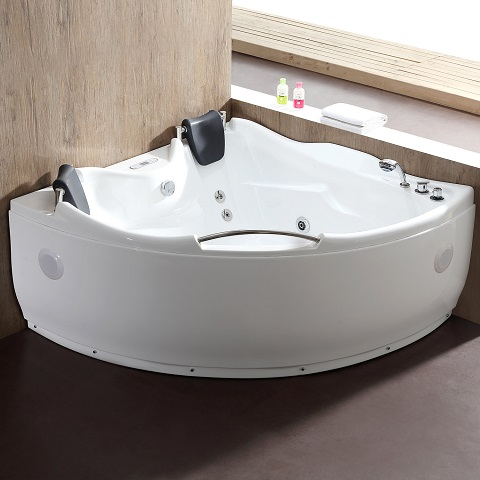 Corner Acrylic White Whirlpool Bathtub For Two With Inline Heating AM125ETL from EAGO