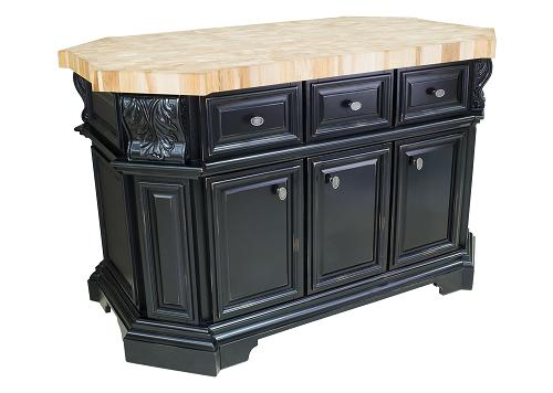 Distressed Black Kitchen Island With Wine Rack From Hardware Resources
