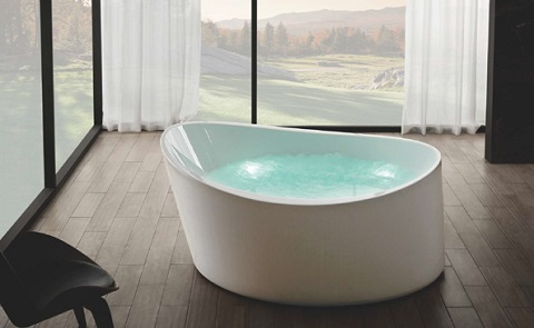 "EAGO AM2130 66"" Round Free Standing Acrylic Air Bubble Bathtub with Chromatherapy"