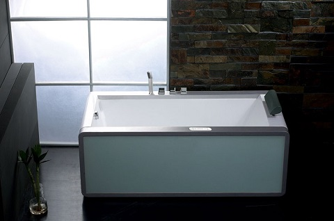 Modern Whirlpool Bathtub with Colored Light Up Glass Panel AM151-L from Eago