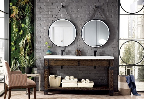 "Annapolis 27.6"" Round Anti-Fogging LED Mirror in Brushed Nickel 911-M27.6-BNK from James Martin Furniture"