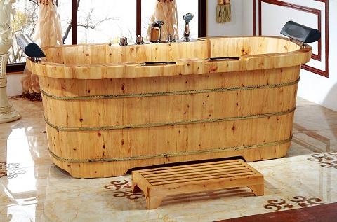 """Cedar Wood 65"""" Freestanding Bathtub AB1130 from Alfi"""