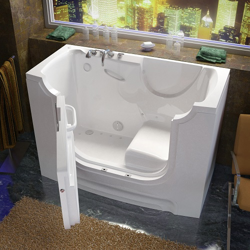 Wheelchair Accessible Walk-in Bathtub with Air Jets from Venzi