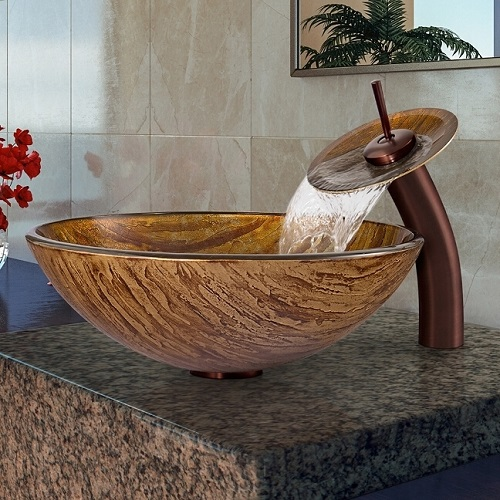 Amber Sunset Glass Vessel Sink And Waterfall Facuet VGT021RBRND from Vigo Industries