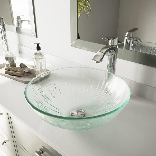 Icicles Glass Vessel Sink And Faucet Set VGT132 from Vigo Industries