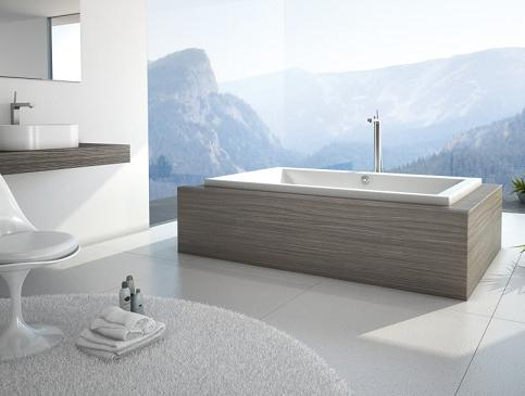 Villa Drop In Bathtub from Venzi with Laminate Wood Bathtub Mount
