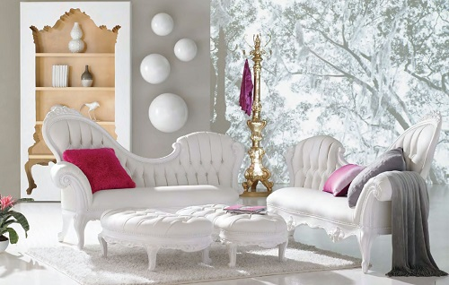 An image of an intensely white living room, filled with baroque inspired chaise lounges with white frames and upholstery