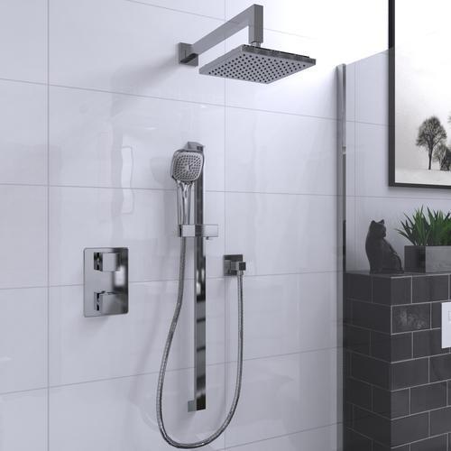 ADA Compliant Square Faucet Pressure Balanced Dual Function Dual Shower Head KIT-QUA140TSCP from Belanger