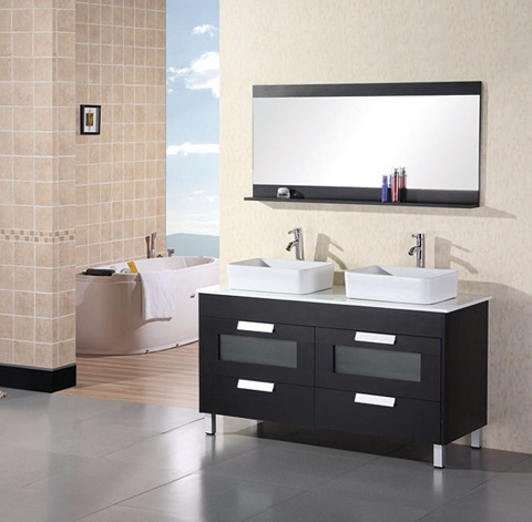 "Francesca 55"" Double Sink Vanity DEC019 from Design Element"