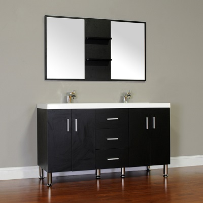 "Ripley 56"" Double Modern Bathroom Vanity in Black AT-8043-B-D-S from Alya"