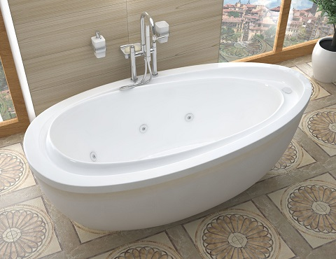 Tullia  38 x 71 x 20 Oval Freestanding Whirlpool Bathtub With Built In Heater from Venzi