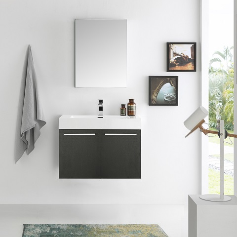 "Vista 30"" Black Wall Hung Modern Bathroom Vanity FVN8089BW from Fresca"