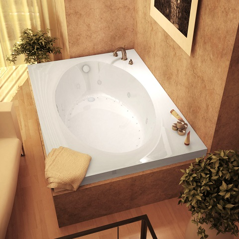 Vogue 42 x 72 x 23 Inch Rectangular Combination Air and Whirlpool Jetted Bathtub 4272VDR from Atlantis